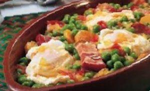 receta guisantes jamon huevo escalfado